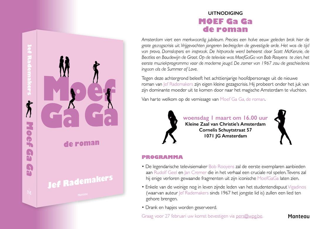 Uitnodiging boekvoorstelling 'Moef Ga Ga' in Amsterdam