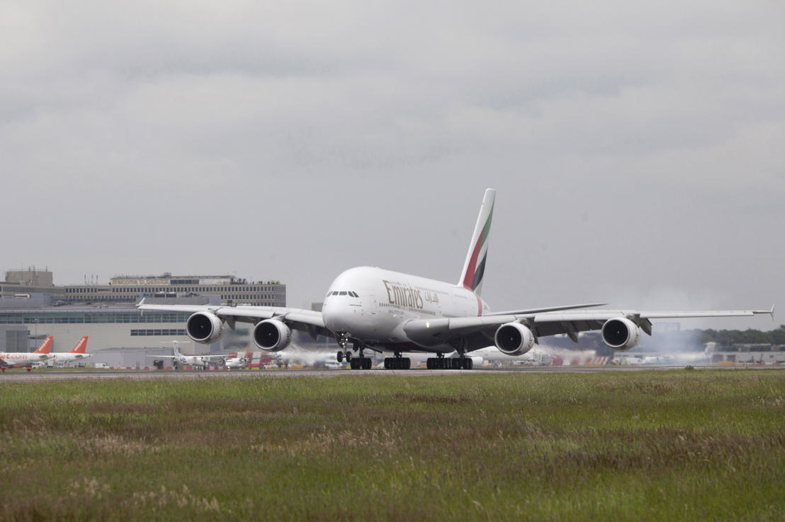 An Emirates A380 lands at London Gatwick Airport