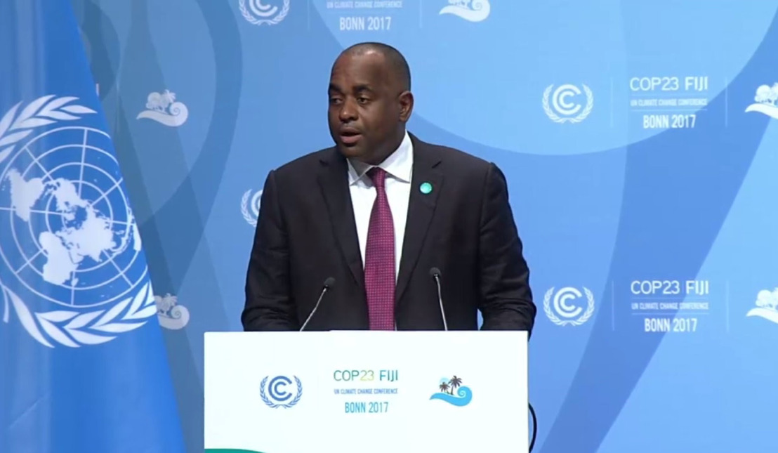 Hon. Roosevelt Skerrit, Prime Minister of the Commonwealth of Dominica, addresses the Joint High Level Segment at COP23