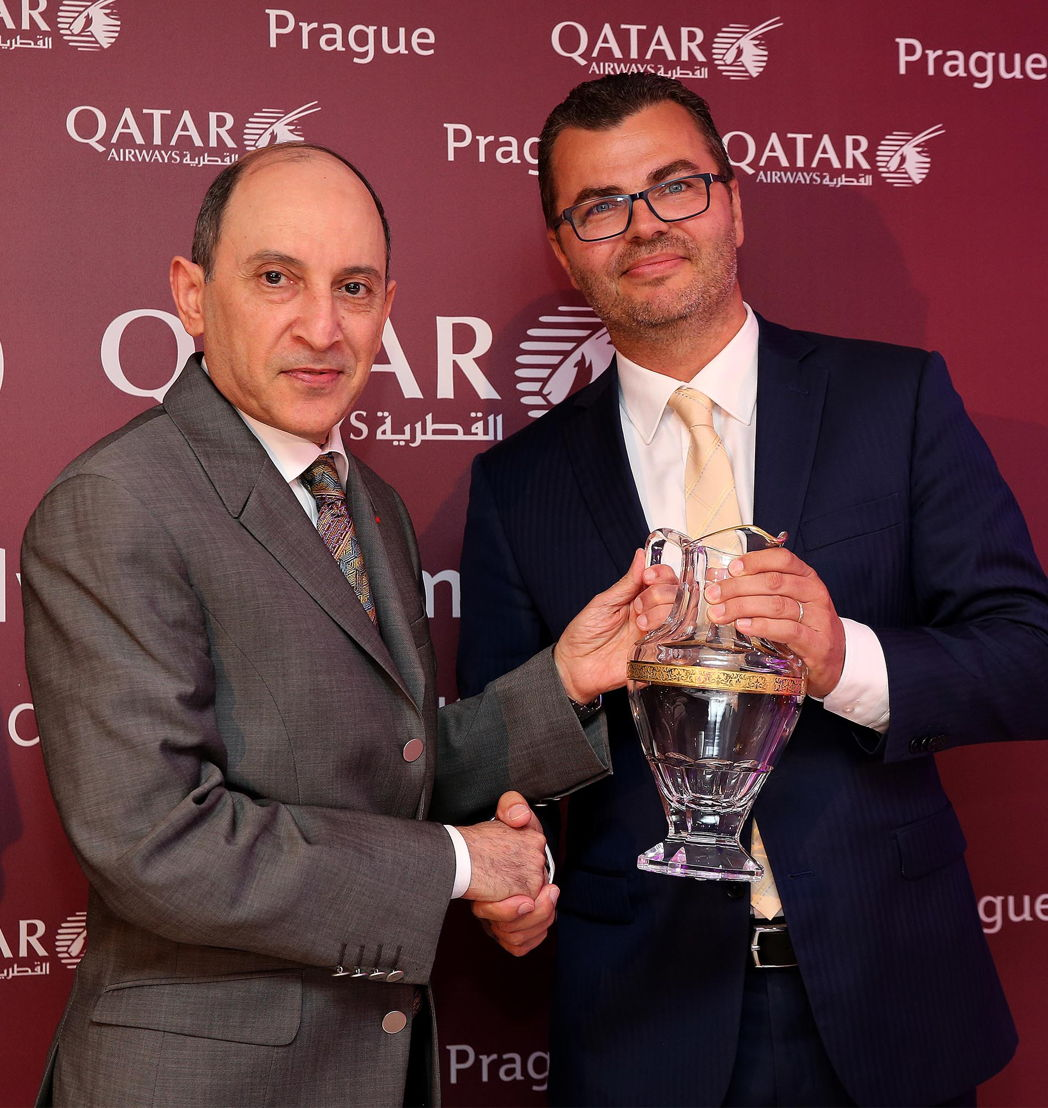 Akbar al-Bákir (generální ředitel Qatar Airways) s Václavem Řehořem