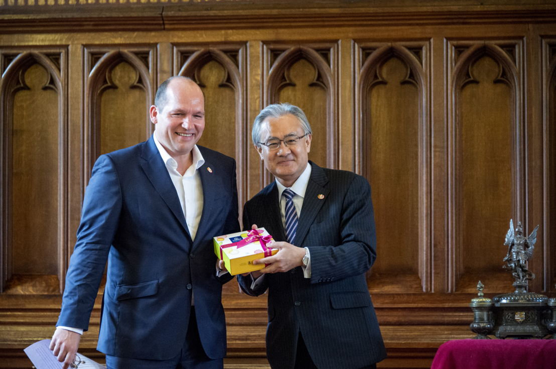 ©Wim Vanmaele - Philippe Close, Echevin du Tourisme &amp; Masafumi Ishii,<br/>Ambassadeur du Japon en Belgique