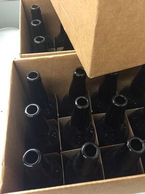 Bottles waiting to be sanitized