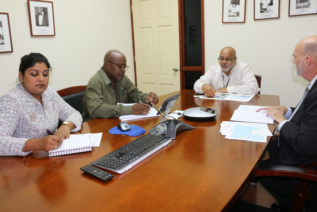 USDA/APHIS Agricultural Scientist Renita Sewsaran, OECS Agriculture Unit Programme Officer George Alcee, Director General of the OECS Commission Dr. Didacus Jules and  Director of USDA/APHIS Safeguarding Initiative for the Greater Caribbean Dennis Martin.