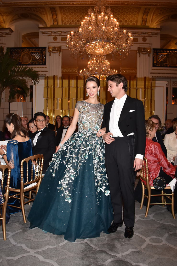Countess Angélique de Limburg Stirum (in Georges Hobeila and jewelry by Payal New York) with her cavalier Count François de Limburg Stirum, Photo by Jean Luce Huré