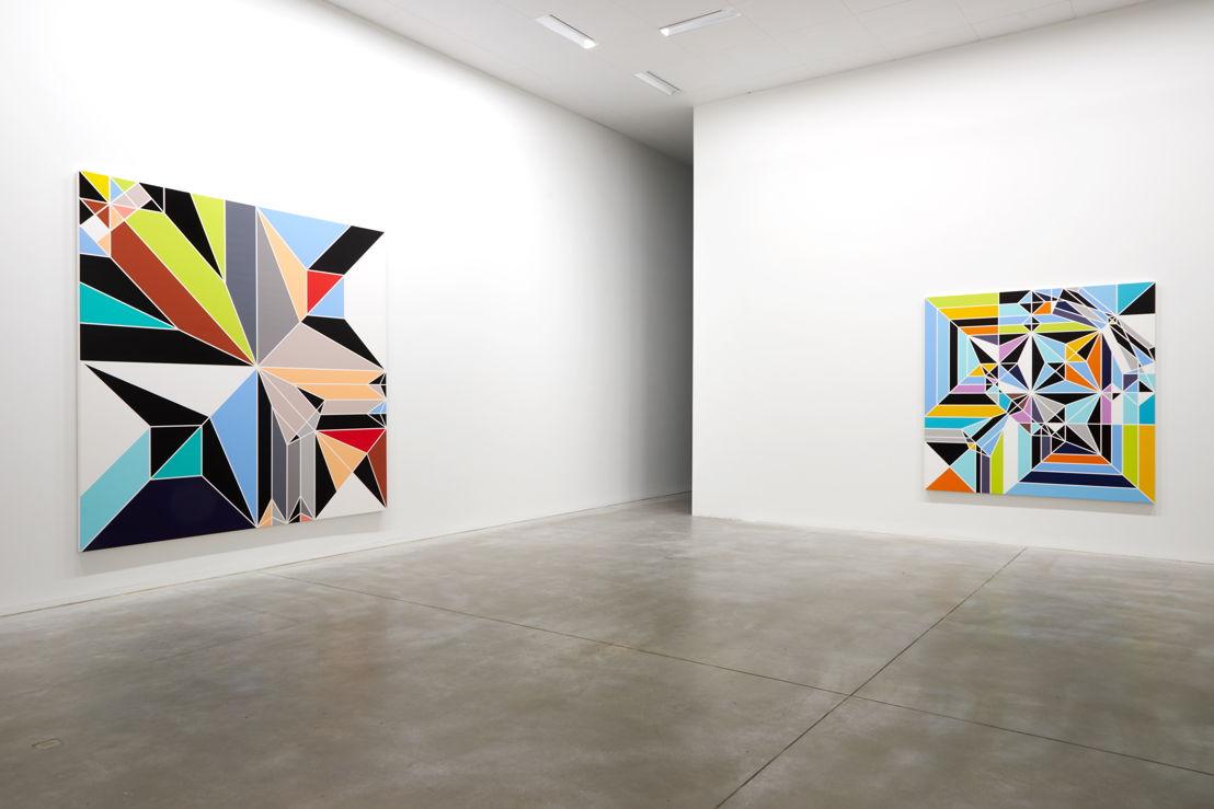 De gauche à droite: Sarah Morris. Rockhopper [Origami] (2009) &amp; Angel [Origami] (2009)<br/>(c) Dirk Pauwels