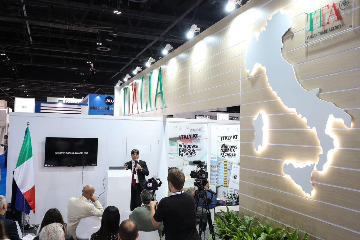 Gianpaolo Bruno, Director of the Italian trade Agency (ICE) in the UAE, Oman and Pakistan, speaking from the WDF's Italian Pavilion