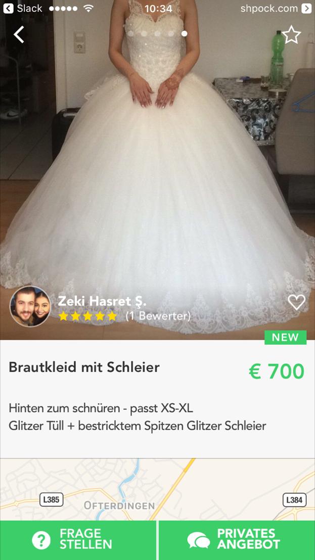 Brautkleid auf Shpock - Bildcredit: (c) Shpock - Abdruck honorarfrei