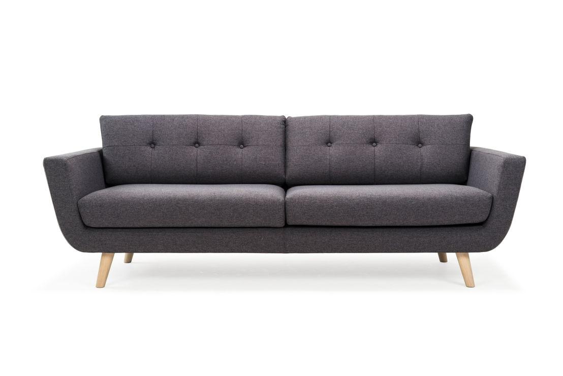 Vera, 3-seater sofa, Olena Antracit, Oak soap