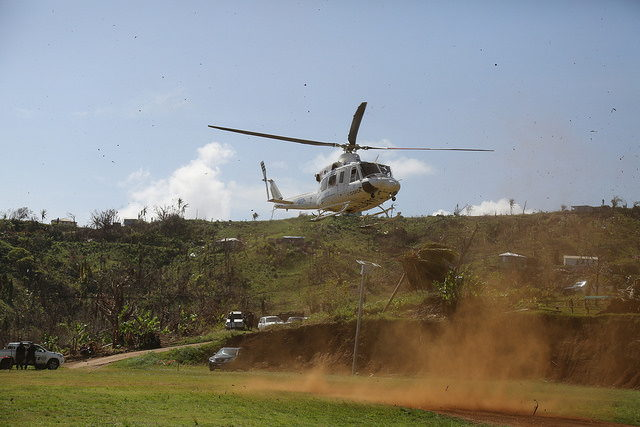 Helicopter arrives at the Kalinago Territory.