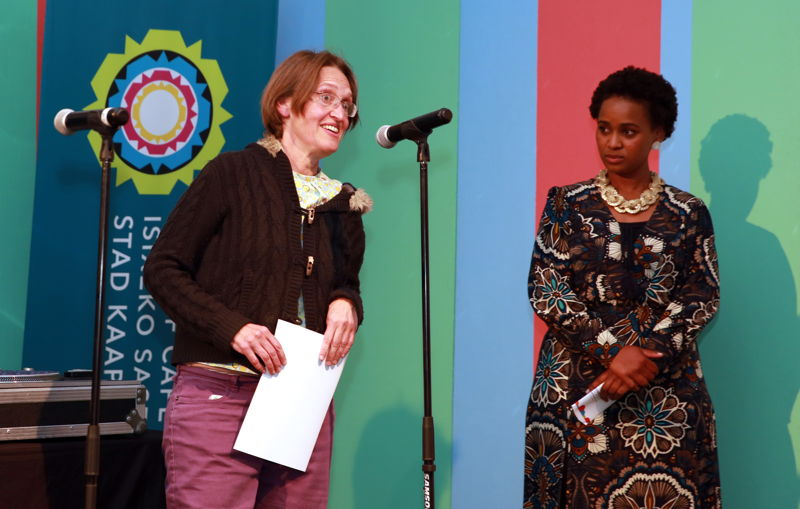 Caroline Calburn collects a Fresh Fringe Roll of Honour Award for Theatre Arts Admin Collective - pic Nardus Engelbrecht 2016