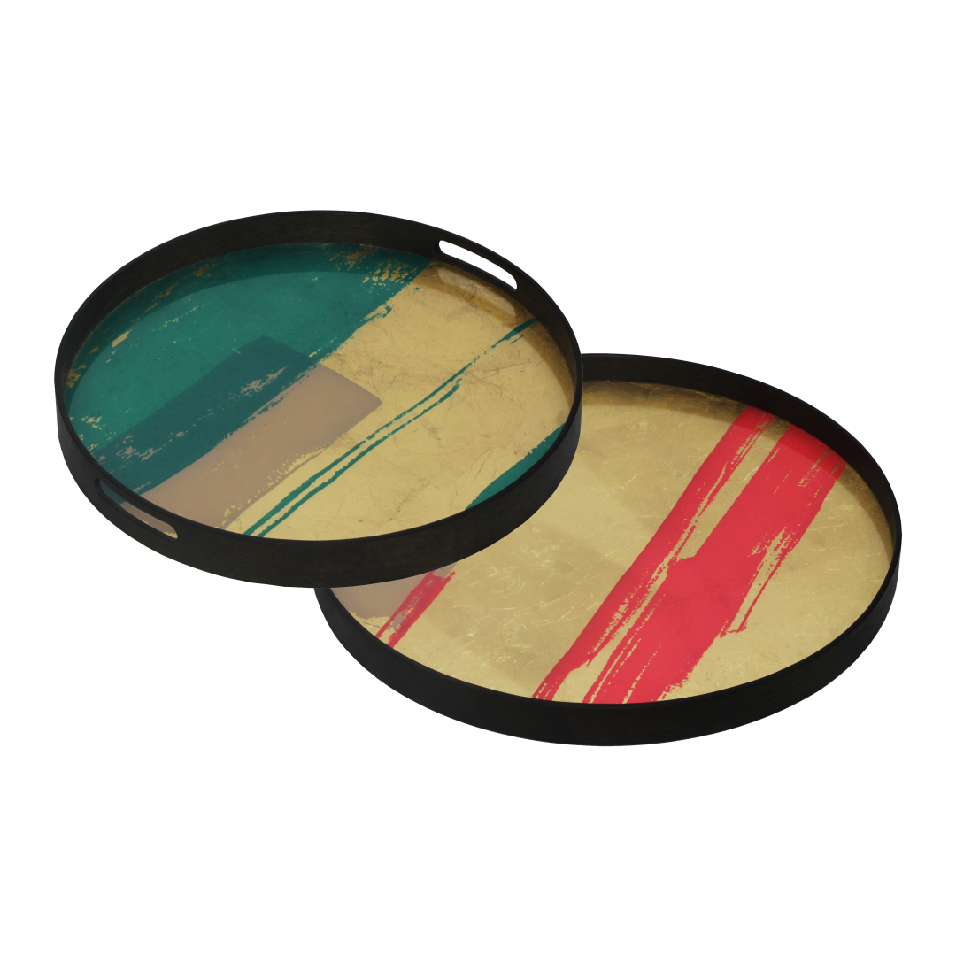 Notre Monde Turquoise Abstract & Raspberry Composition trays - Perfect Combination