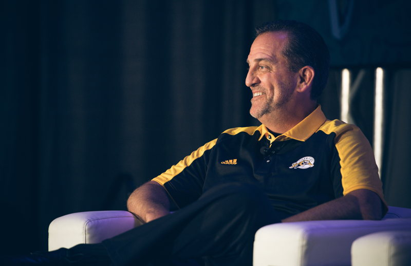 Kent Austin at the Football Operations Media Availability. Photo credit: Johany Jutras/CFL