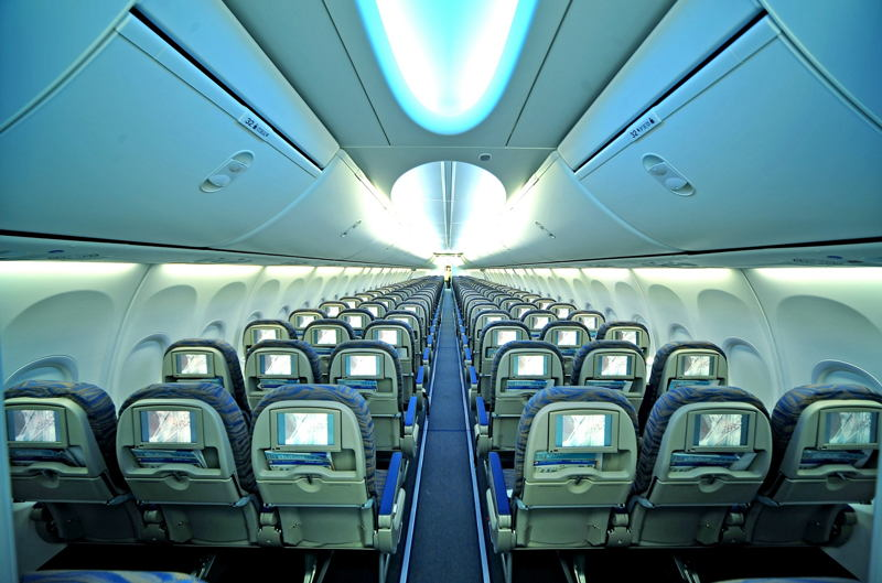 Economy Class cabin showing Boeing Sky Interior