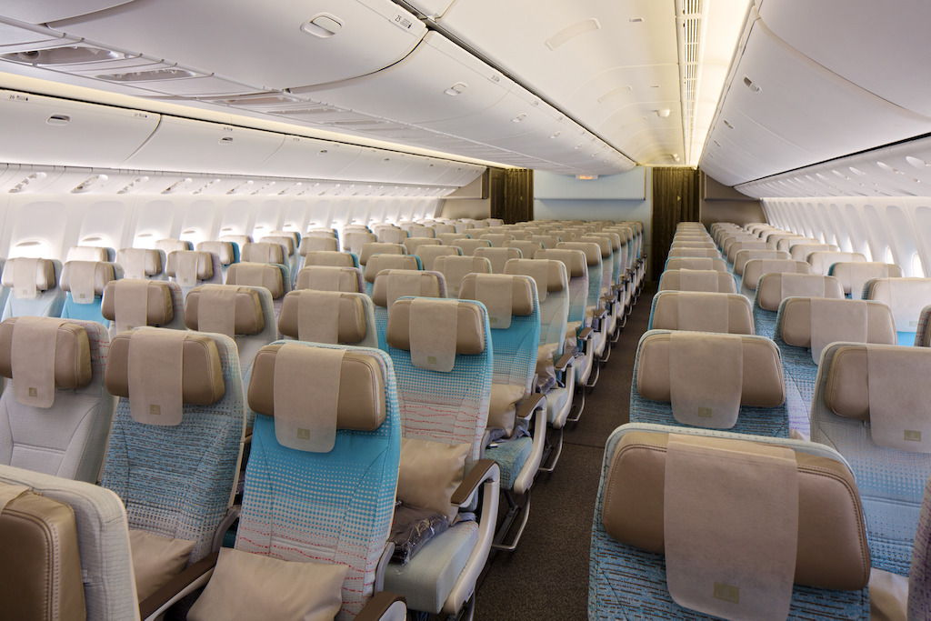 Economy Class cabin on Emirates' new Boeing 777-300ER
