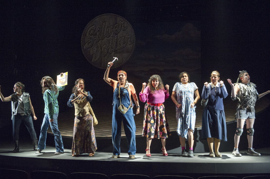 "Reneltta Arluk (as Emily Dictionary), Lisa C. Ravensbergen (as Annie Cook), Tasha Faye Evans (as Marie Adele Starblanket), Tantoo Cardinal (as Pelajia Patchnose), Tracey Nepinak (as Philomena Moosetail), Tiffany Ayalik (as Zhaboonigan Peterson), Cheri Maracle (as Veronique St. Pierre), and Waawaate Fobister (as Nanabush) in The Rez Sisters by Tomson Highway / Photos by David Cooper / <a href=""http://www.belfry.bc.ca/the-rez-sisters/"" rel=""nofollow"">www.belfry.bc.ca/the-rez-sisters/</a>"