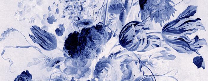 Preview: Pinturas florales holandesas en murales pintados como cerámica de Delft