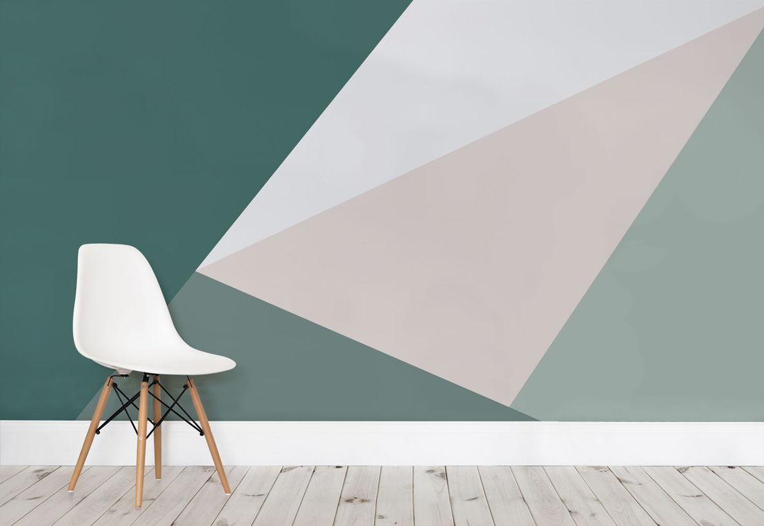 Green Oversized Geometric Wall Mural