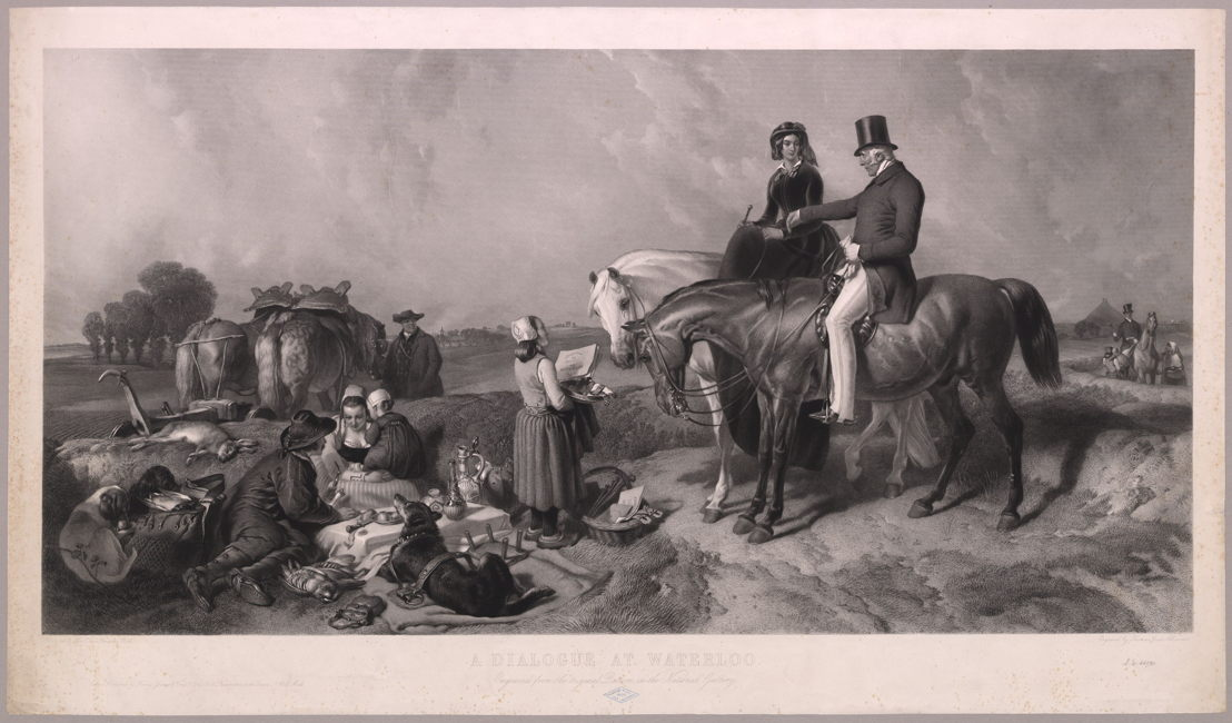&#039;A Dialogue at Waterloo&#039;, engraved by Thomas-Lewis Atkinson, after the original painting by Sir Edwin Henry Landseer<br/>© Royal Library of Belgium