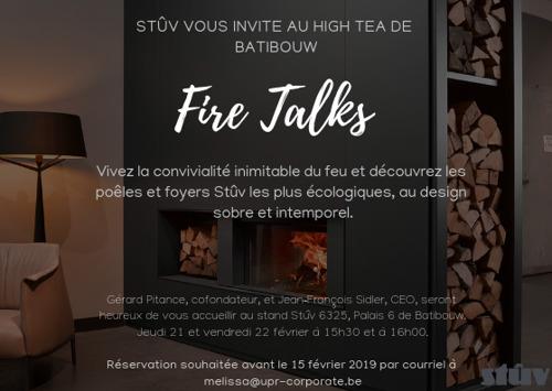 Stûv vous invite pour les Batibouw Fire Talks 2019