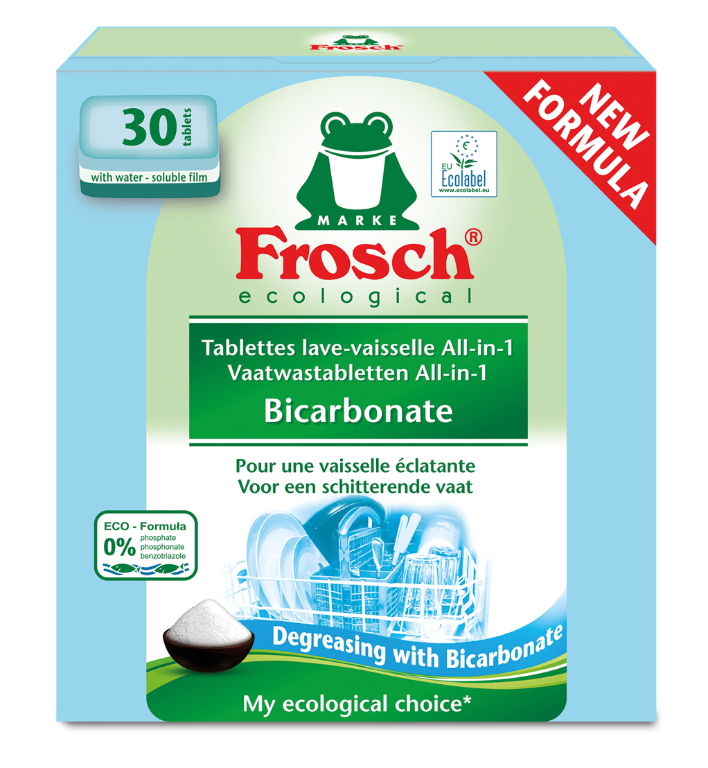 Tablettes lave-vaisselle all-in-one FROSCH sont vendues par 30     <br/>au prix conseillé de 7,49€.