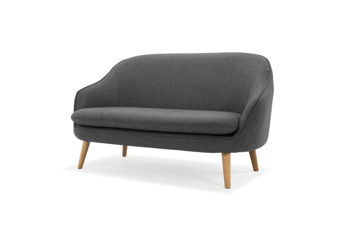 Flynn, 2-seater sofa, Sunday Dark Grey, Oak Legs