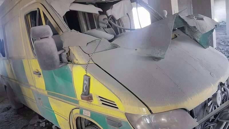 Damage to one of the hospital's ambulances.