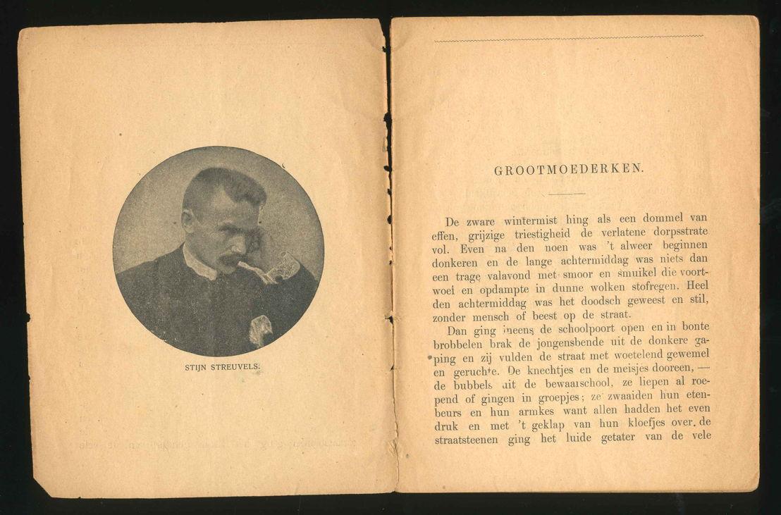 Grootmoederken, Haarlem, H.J. van der Munnik, 1905. Coll. Koning Boudewijnstichting – depot Erfgoedbibliotheek Hendrik Conscience.<br/>= Een zeldzame eerste uitgave van Grootmoederken.