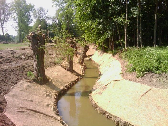 Wanneer de Provincie oevers van een waterloop herstelt, zoekt ze altijd de meest natuurlijke oplossing.
