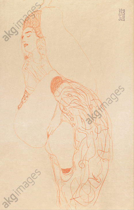 Reclining Semi-Nude (Masturbating), 1912/13. <br/>Drawing. Height: 361 mm (14.21 in); Width: 560 mm (22.04 in). <br/>Location: LEOPOLD MUSEUM, Vienna<br/><br/>AKG5974647