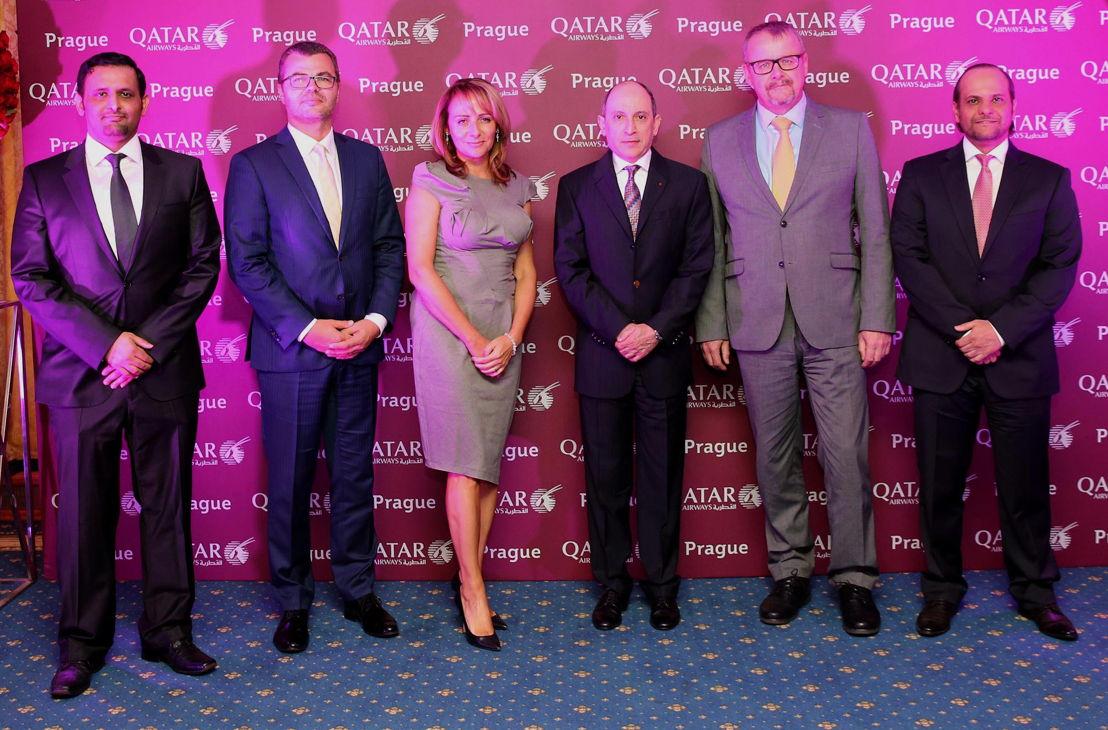 Šejk Falleh Nasser Al Thani, Václav Řehoř, Adriana Krnáčová, Akbar al-Bákir (generální ředitel Qatar Airways), Dan Ťok, šejk Saoud bin Abdulrahman Al Thani (katarský ambasador v Německu)