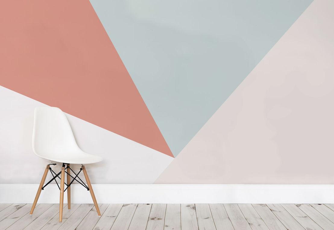 Soft Pastel Oversized Geometric Wall Mural