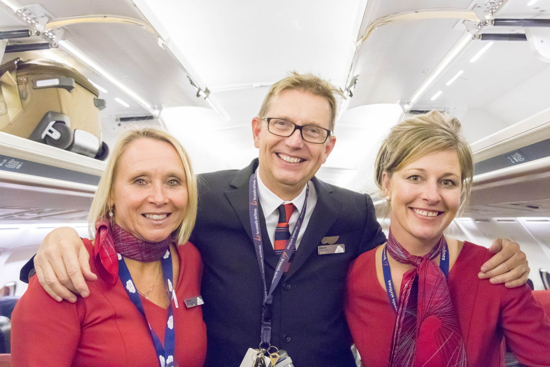 Cabin crew on Brussels Airlines' last commercial AVRO flight