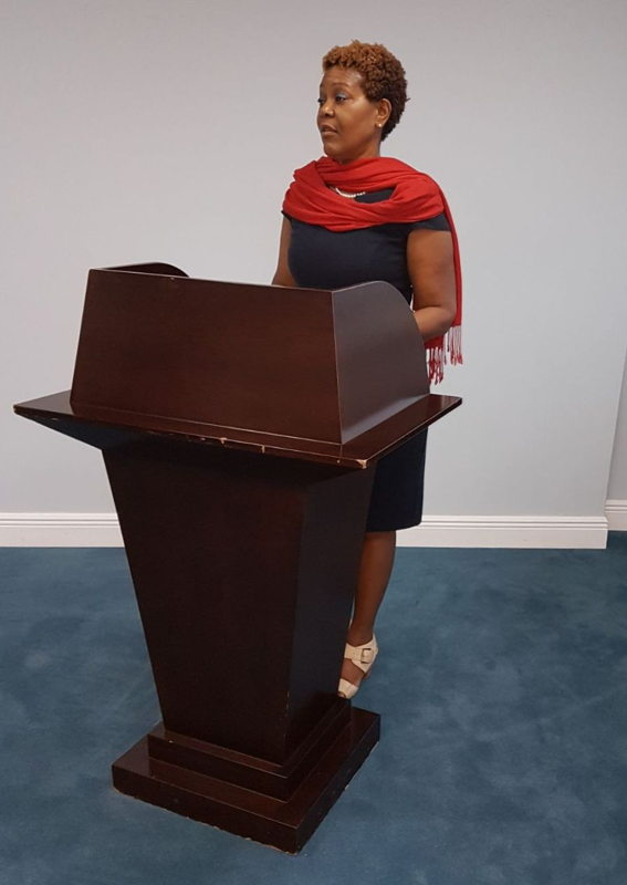 Project Coordinator, Ms. Geraldine St. Croix, delivering welcome remarks.