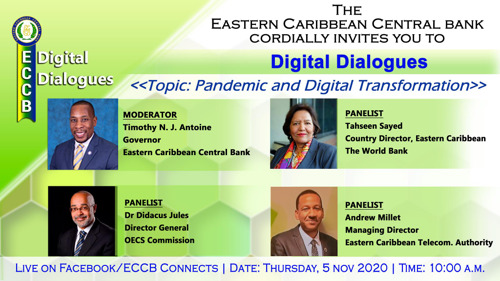 "ECCB to host Digital Dialogue on the ""Pandemic and Digital Transformation"""