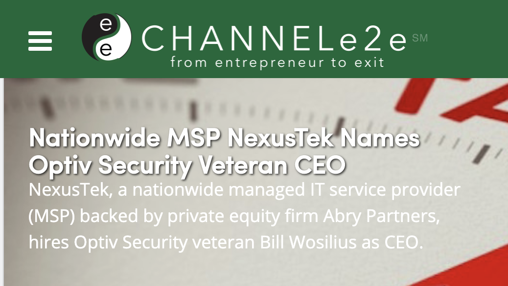 Nationwide MSP NexusTek Names Optiv Security Veteran CEO
