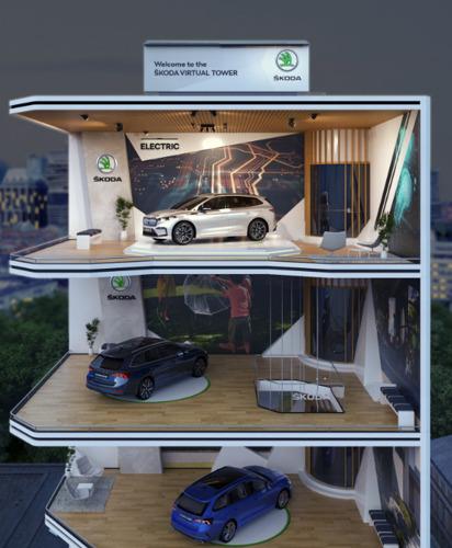 De ŠKODA Virtual Tower, de digitale totaalbeleving voor de Salonperiode