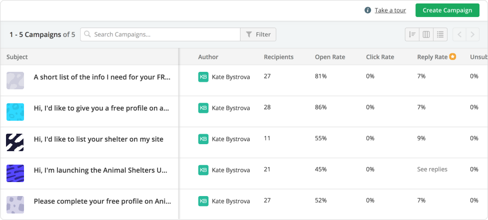 Screenshot of the sent campaigns overview in Prezly