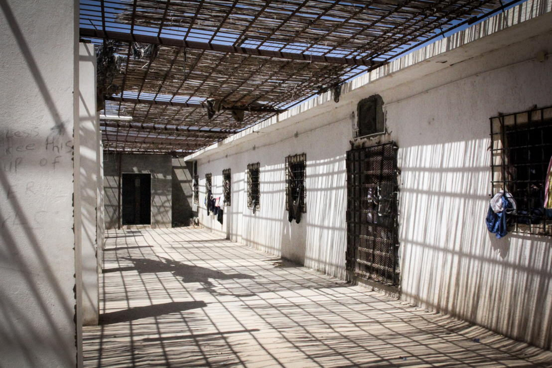 General view of the detention centre<br/>On September 2nd, 276 people were brought by the Libyan coast guard to Khoms (120 km east of Tripoli) - among them 181 men, 42 women and 24 children including 2 babies less than 12 months old. They were then transferred to detention center where MSF works. Reportedly, they were in two rubber coats, one stopped due to engine failure, while the other boat continued to navigate for several hours before deflating and sinking. Survivors told MSF teams that over a hundred people died in the shipwreck. Photographer: Sara Creta