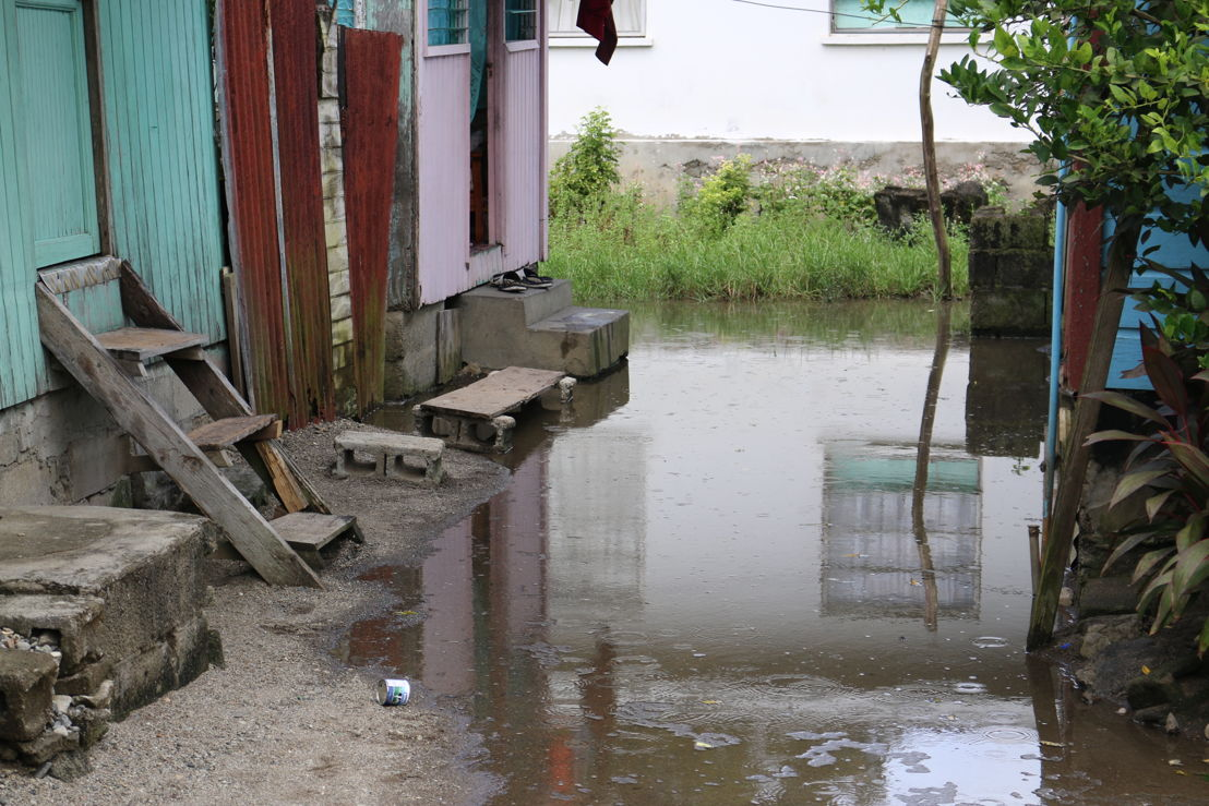 Flood waters block entrance to home in Anse La Raye.