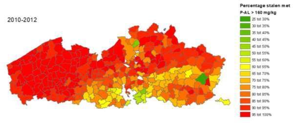 Figuur 2. Percentage stalen per gemeente met een P-AL-gehalte > 160 mg/kg op basis van de standaardgrondanalyse, voor de periode 2010-2012 (Bodemkundige Dienst van België)