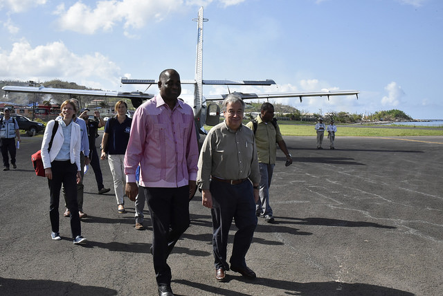 UN Secretary-General António Guterres and Prime Minister of Dominica Hon. Roosevelt Skerrit prepare for departure to the Kalinago Territory.