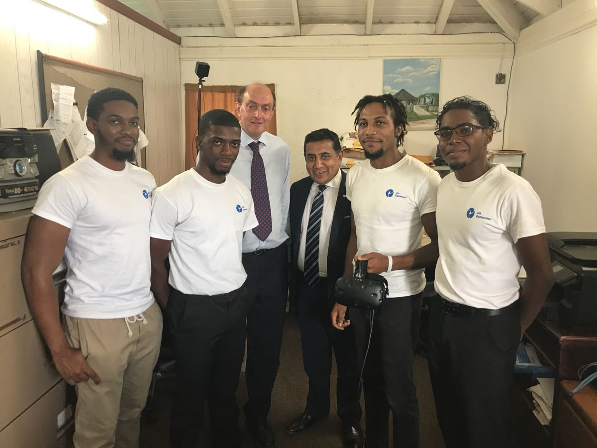 4th Dymension Team meets Minister of State for the Commonwealth and UN, Lord Ahmad, with the Governor of Montserrat, His Excellency Andrew Pearce.