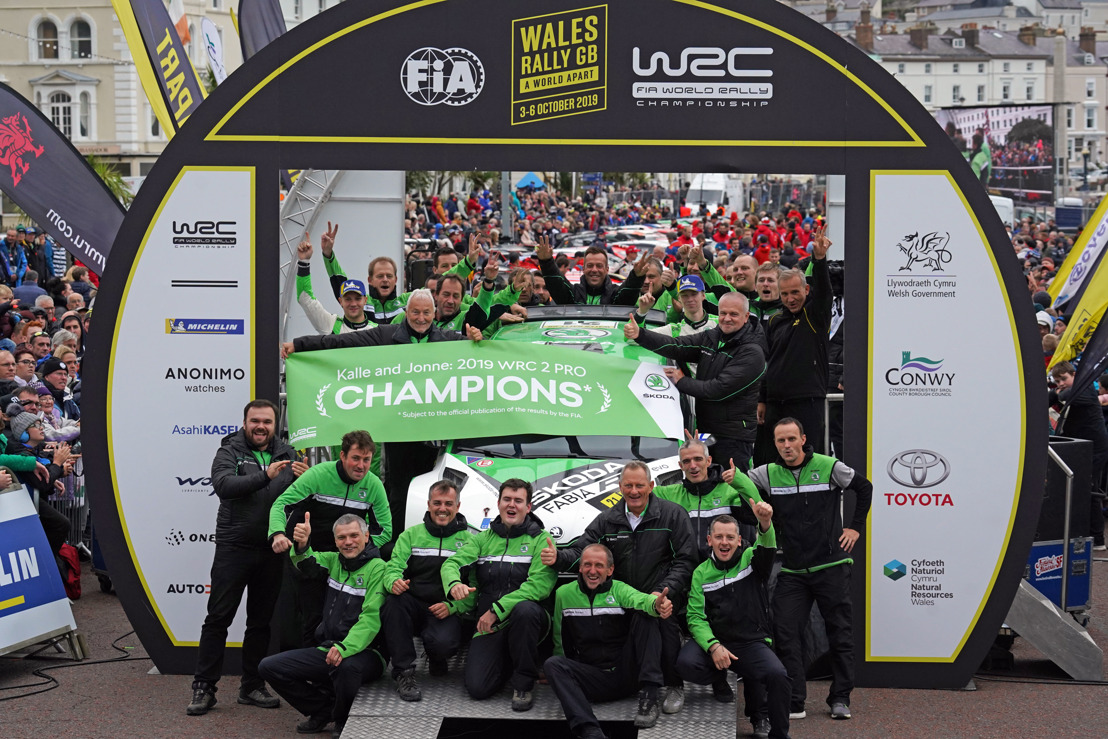 Wales Rally GB: Game, set and WRC 2 Pro titles* for ŠKODA's Kalle Rovanperä and Jonne Halttunen
