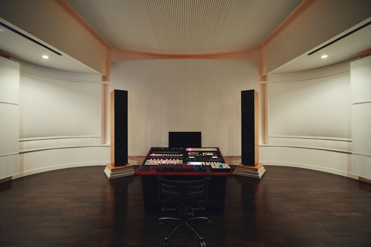 Dunlavy Speakers mounted on 500 lb. limestone blocks flank the Boiler Room's custom mastering desk