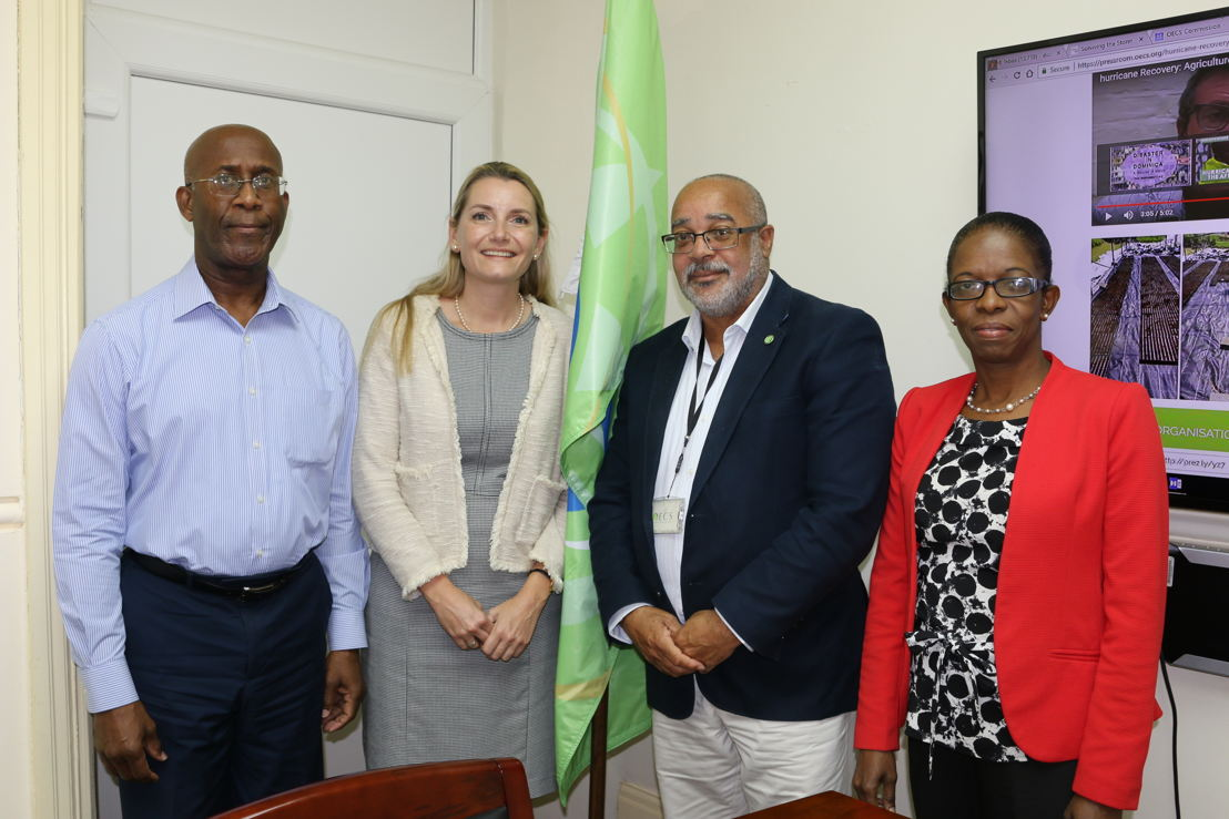 (L-R) Ambassador Anthony Severin, Head of OECS International Relations; H.E. Ms. Liesbeth Mol, Regional Envoy for Caribbean Missions and Organisations, Kingdom of the Netherlands; H. E. Dr. Didacus Jules, Director General of the OECS Commission; and Ms Beverly Best, Head of OECS Development Cooperation & Resource Mobilisation.