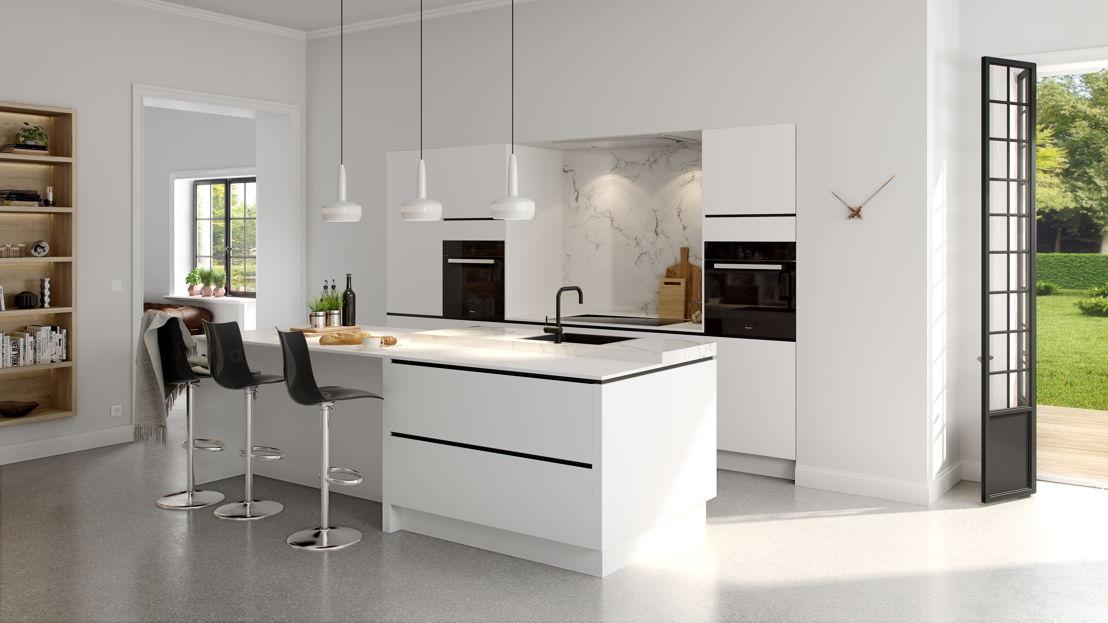 Ilot dans le style black & white (cuisine 903) ©èggo