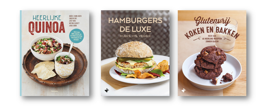 Ontdek de gevarieerde recepten van M-Books in twee heruitgaven en het gloednieuwe 'Heerlijke Quinoa'