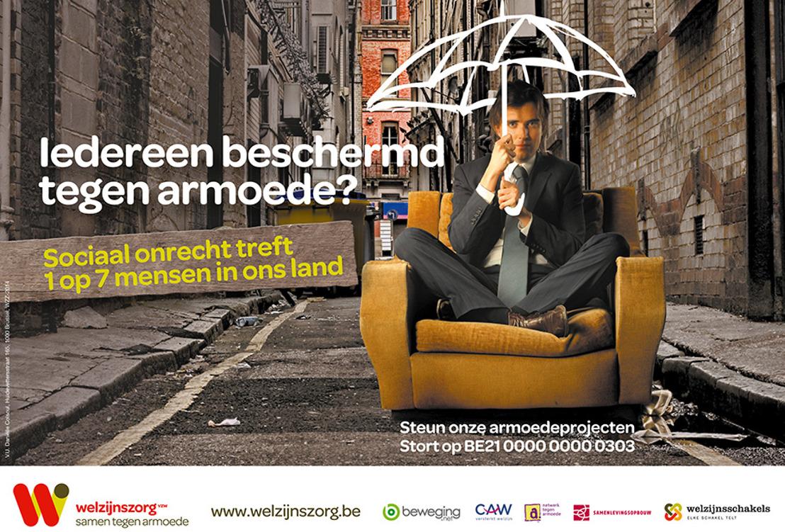 Persuitnodiging: Welzijnszorg lanceert nieuwe campagne 'Iedereen beschermd tegen armoede?' met wereldrecordpoging: 'Open een paraplu tegen armoede!'