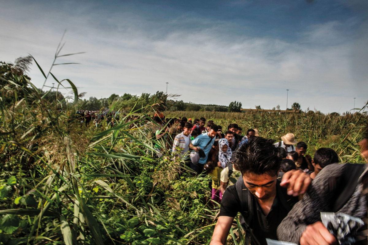 Migrantes en la frontera de Hungría con Serbia.  Juan Carlos Tomasi/MSF