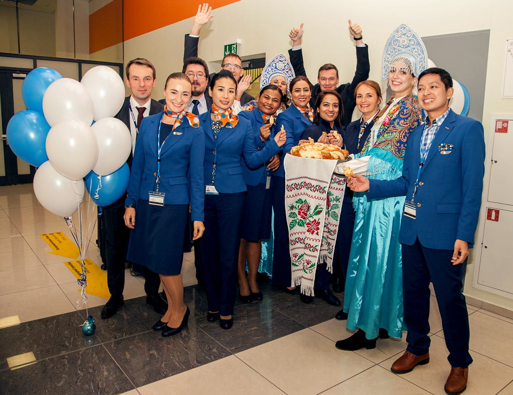 Traditional bread and salt ceremony at Sheremetyevo International Airport
